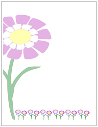 flowers stationery with border